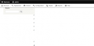 A nearly blank webpage with a search box in the upper left corner.