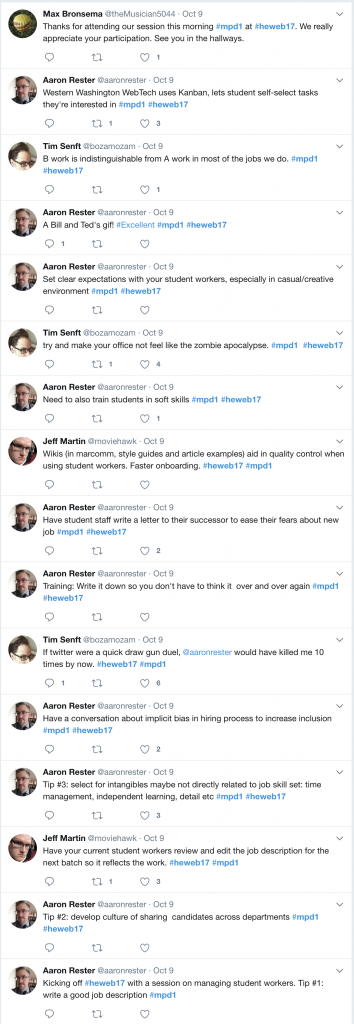 Aggregation of Twitter posts about session